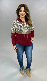 10-20 HD-B {Claws Out} Maroon Leopard Sequin Hoodie SIZE S M L