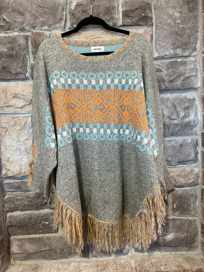 10-13 CP-C {Cozy Season} Grey Aztec Sweater Fringe  SIZE S/M  M/L
