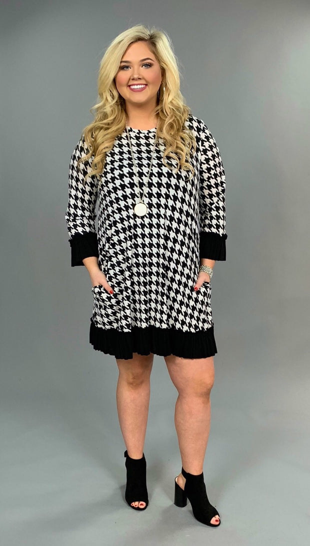 CP-B Houndstooth Print Tunic or Dress with Ruffle Detail