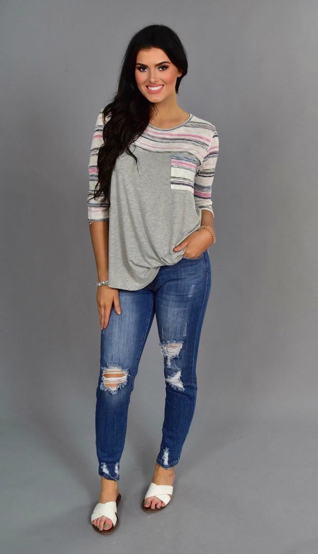 CP-J {Let's Get Lost} Gray Pocket Top with Pink/Navy Contrast