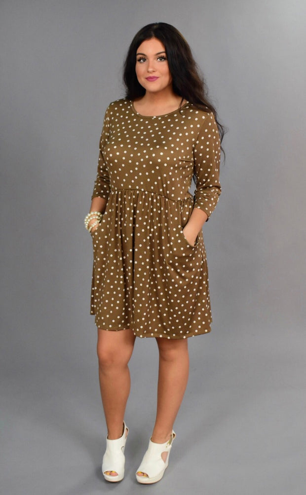 PQ-Z {Pretty Woman} Tan Polka-Dot Dress with Pockets