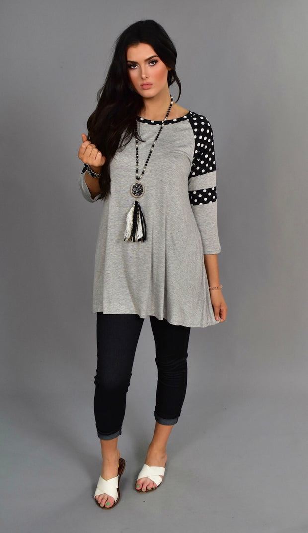 CP-G {Enough For Me} Gray/Black Tunic with Polka-Dot Sleeves