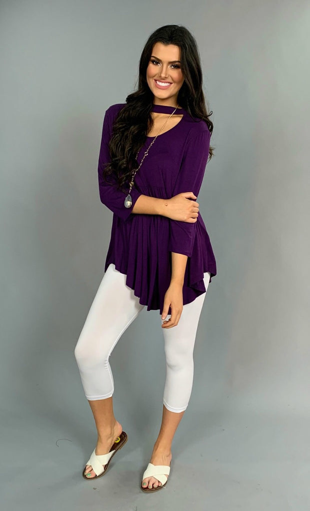 SLS-K {Yeah Baby} Purple Overlap Hi-Lo Mock Neck Top