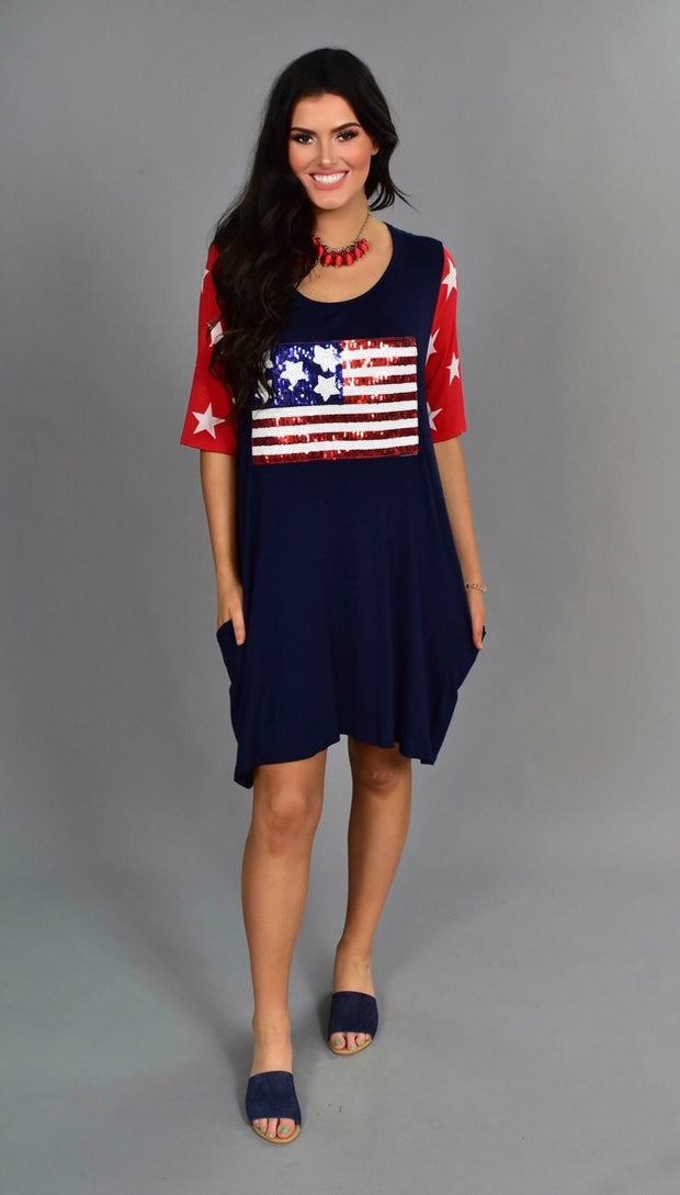 GT-A Patriotic Navy Dress with Sequined Flag & Star Sleeves