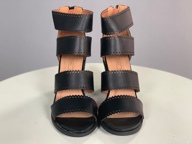 SHOES {YOKI} Black Heels with Four Wide Leather Straps Shoes