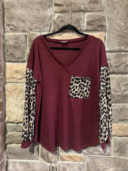 10-09 CP-O {Little Miss Confident} Maroon With Leopard Waffle Top SIZE S M L