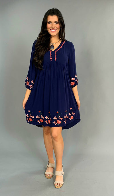 SD-U {Down Home Girl} Navy Dress W/ Coral Floral Border SALE!!
