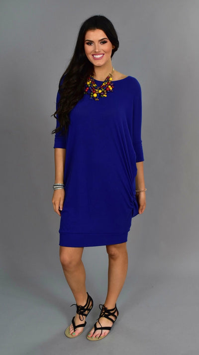 SSS-Z {Zenana} Royal Blue Long Ruched Tunic Dress