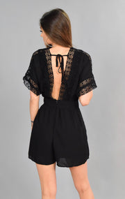 RP-N {Dressed To Kill} Black Romper with Crochet Lace Detail SALE!!