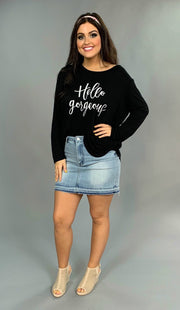 GT-M {Hello Gorgeous} Black Long Sleeve Top
