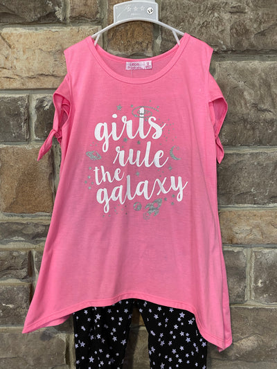 KIDS {Rule The Galaxy} Pink Graphic Tee Star Print Capri Set SALE!!