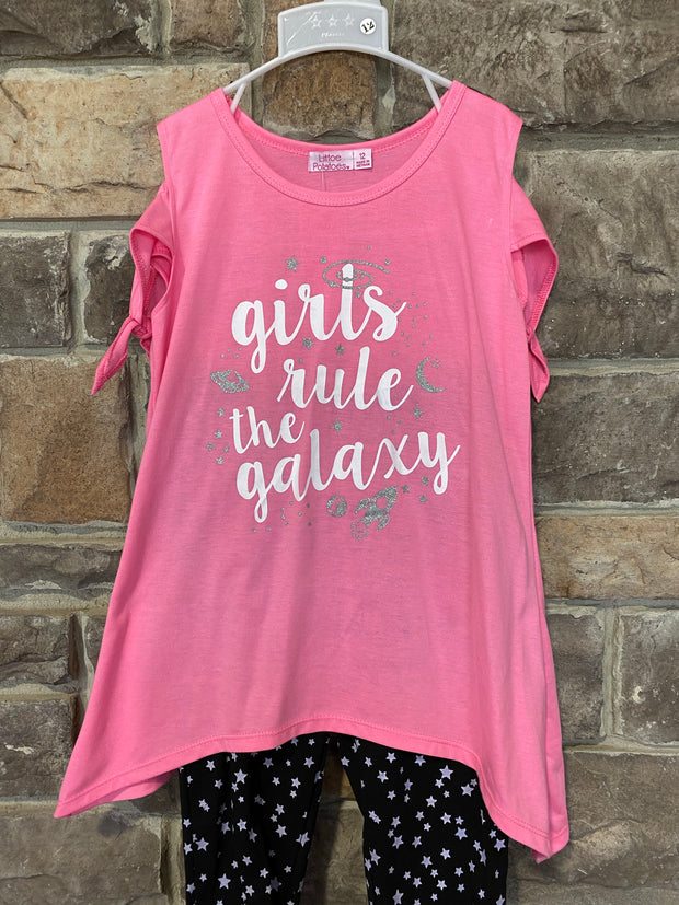 KIDS {Rule The Galaxy} Pink Graphic Tee Star Print Capri Set
