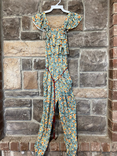 KIDS {Wildflowers} Sage Jumpsuit With Flower Print String Belt