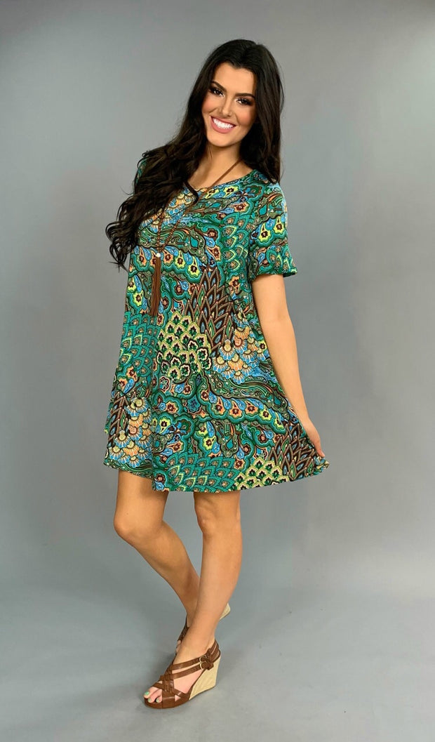 PSS-J {Beautiful Babe} Green Peacock Ruffle Sleeve Dress or Tunic
