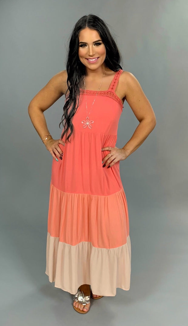 LD-B {Meet Me in Paradise} Coral Sundress with Lace