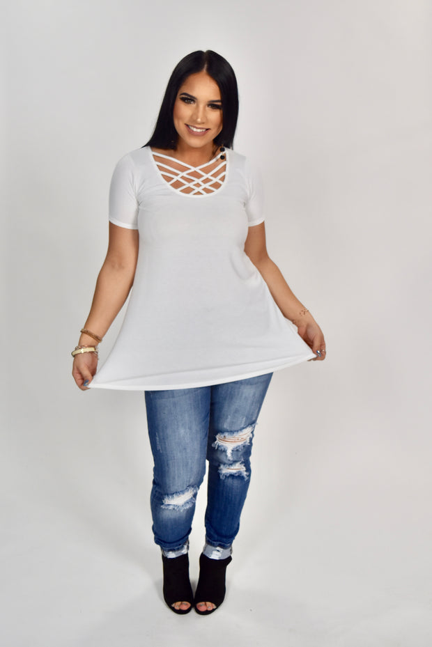 SSS-M {Simply Awesome} Ivory Top with Cage Neck Detail