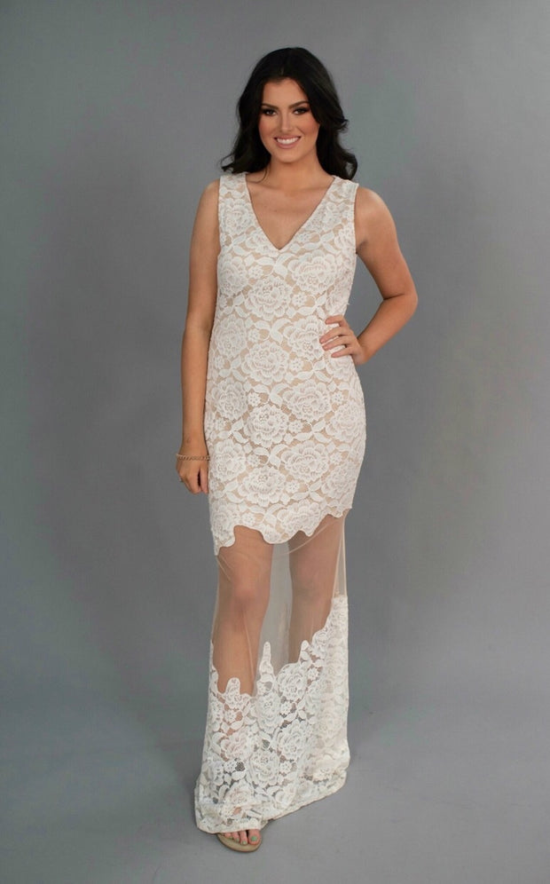 LD-M {Symphony} Goddess Maxi Dress with Lace/Mesh
