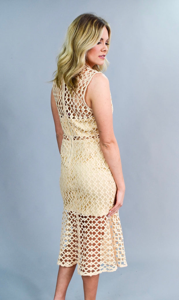 SV-D {Modern Love} Nude Crochet Zip Dress with Lining