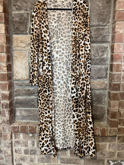 OT-A {Feelin' Fierce} Tan Black Animal Print Knit Duster Cardigan