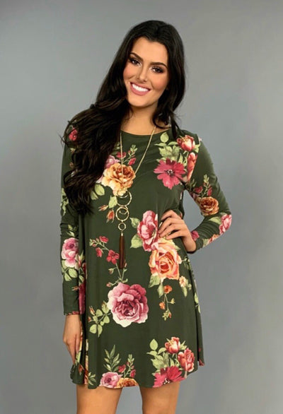 PLS-M {Make Time} Olive Floral Print Dress w/Pockets