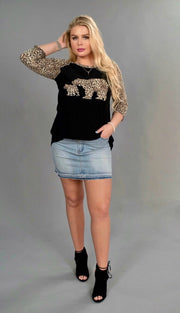 GT-R {Mama Bear} Black Top with Leopard Print Detail