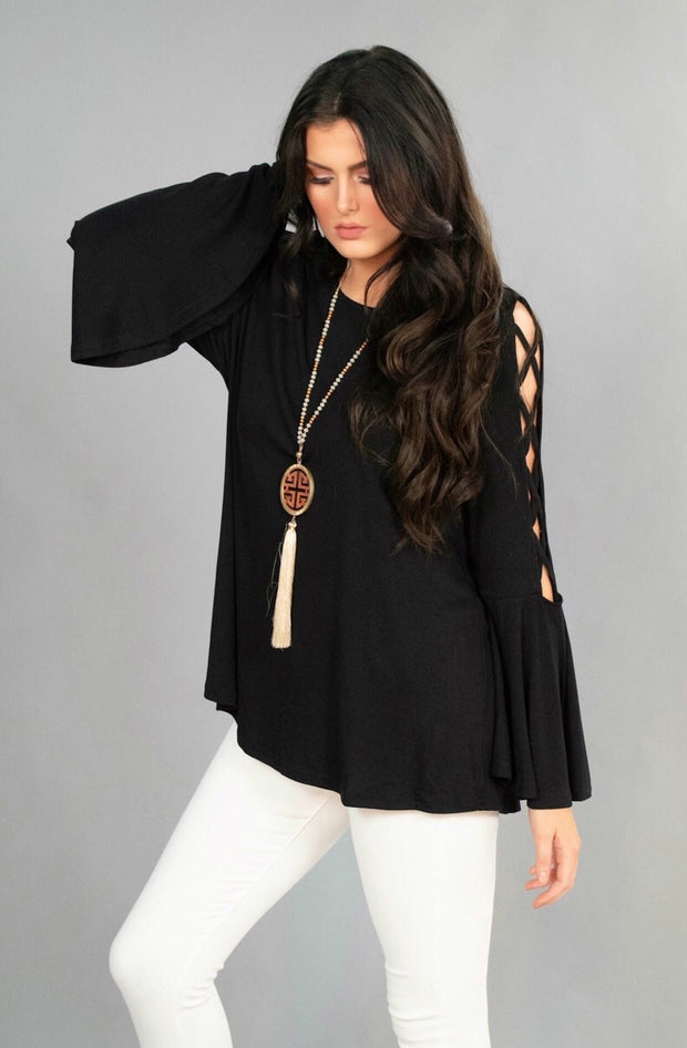 SLS-U {As Good As It Gets} Solid Black Tunic with Sleeve Detail