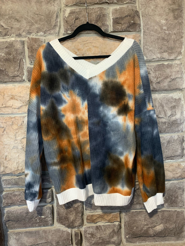 10-02 CP-C {Stay The Night} Rust Navy Tie Dye Waffle Top SIZE S M L