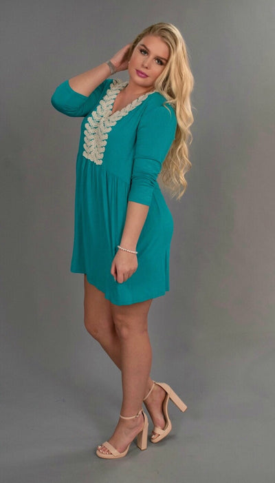 SD-Z {Be The Light} Teal Tunic Dress with Crochet Detail