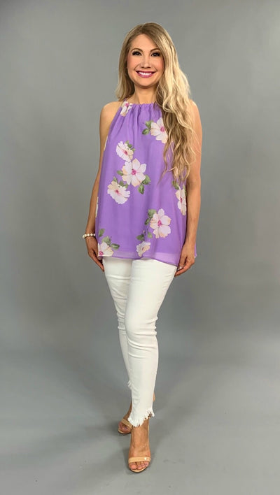 SV-A {Fab In Floral} Lavender Sleeveless Halter Top
