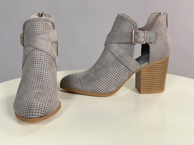 SHOES {Delicious} Timberwolf Suede Booties w/ Side-cut & Buckle Detail