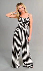 RP-M {Find Your Love} Black Striped Jumpsuit Tie Front