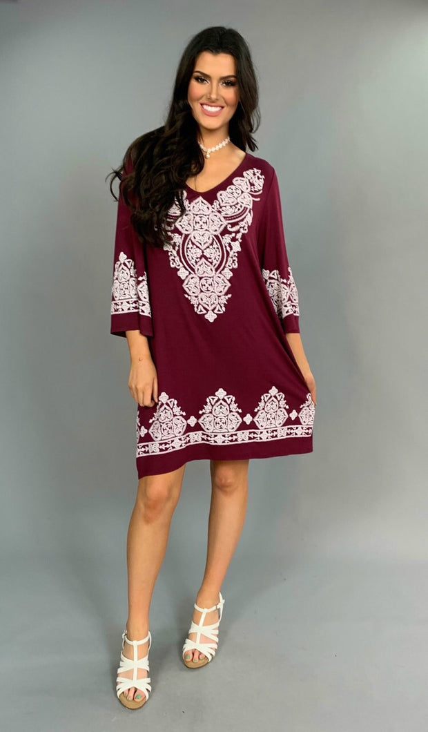 SD-i {Every Last Detail} Burgundy Dress with White Design