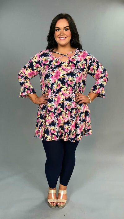 PQ-P {Spring Is In The Air} Navy/Pink Floral Dress