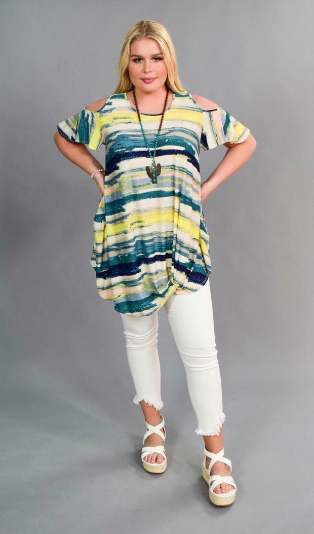 OS-D {Like It} Cold Shoulder Top with Knot Hem