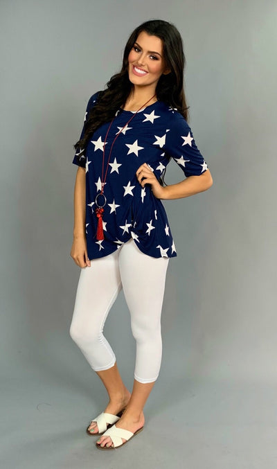 PSS-U {Let's Celebrate} Navy Top with Stars Knot Hem