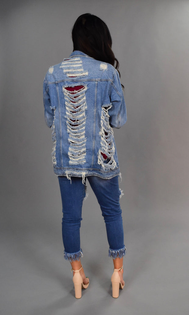 OT-L {Free To Be Me} Distressed Denim Jacket