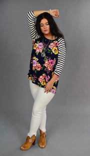 CP-C {Spring Fling} Navy Floral Contrast Top with Striped Sleeves