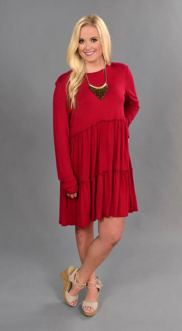"SLS-T ""Bellamie"" Red Dress with Tiny Double Ruffle Detailing"