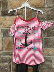 KIDS {Ocean Dreams} Coral Graphic Tee Charcoal Capri Set