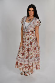 LD-E {Miles Away} Ivory Floral Print Dress W/ Open Front Detail