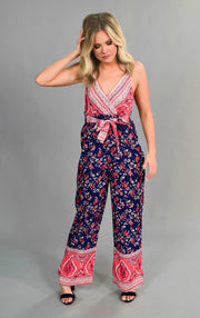RP-U {Getting The Best} Navy/Coral Printed Silky Jumpsuit