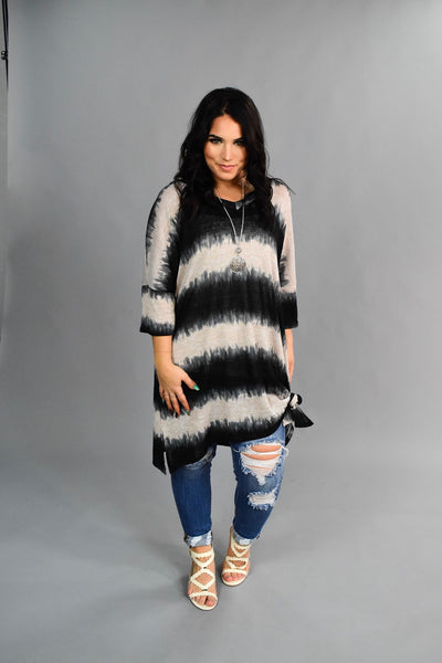 PSS-K Black/Ivory V-Neck Knit Striped Tunic