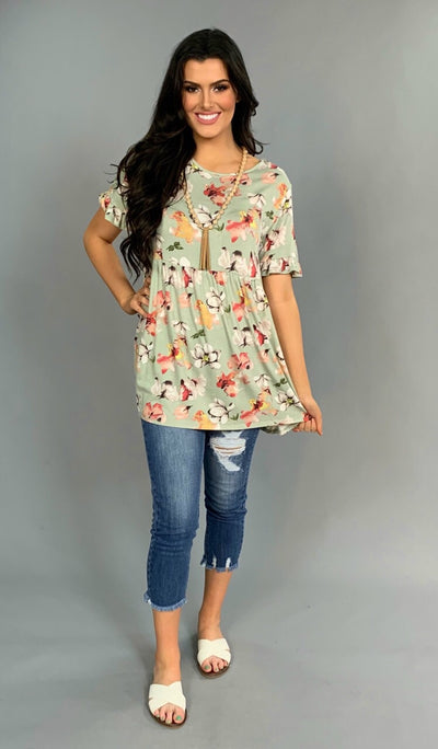 PSS-T {More Than A  Feeling} Pistachio Floral Print Tunic SALE!!