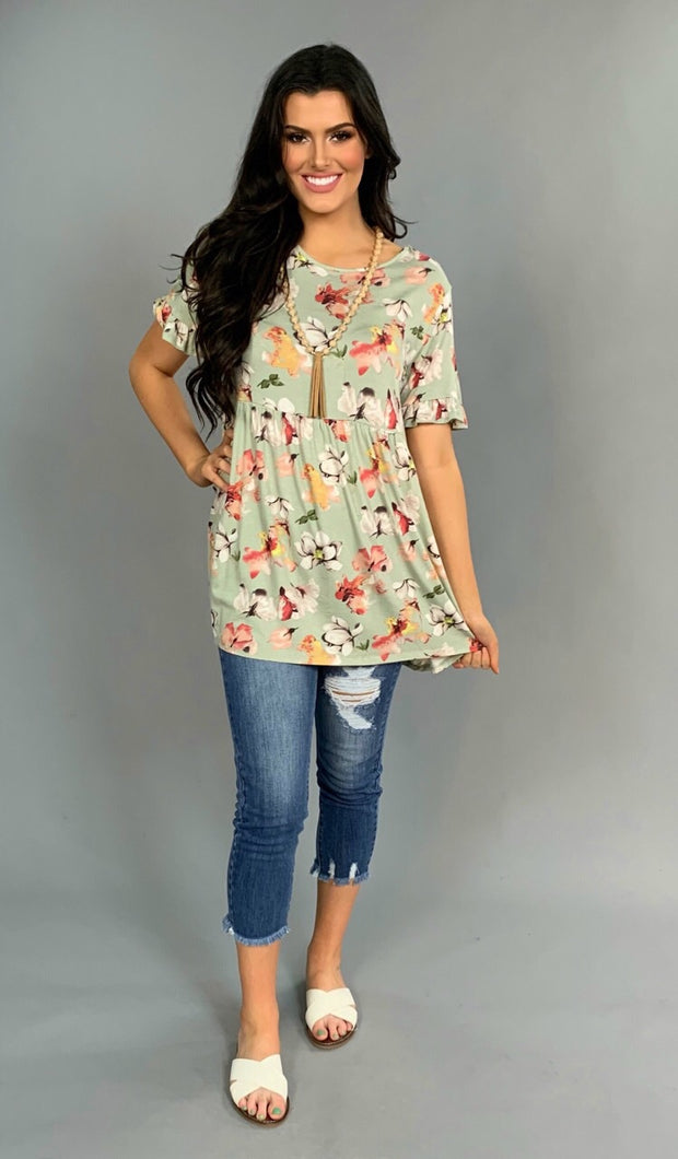 PSS-T {More Than A  Feeling} Pistachio Floral Print Tunic