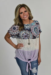 CP-B {Ready Or Knot} Mandala Lavender Contrast Top
