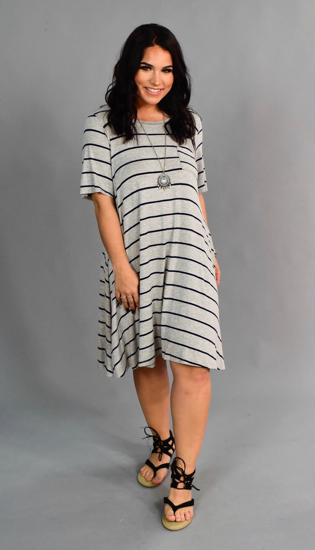 PSS-J Heather Gray/Navy Striped T-Shirt Dress with Pocket