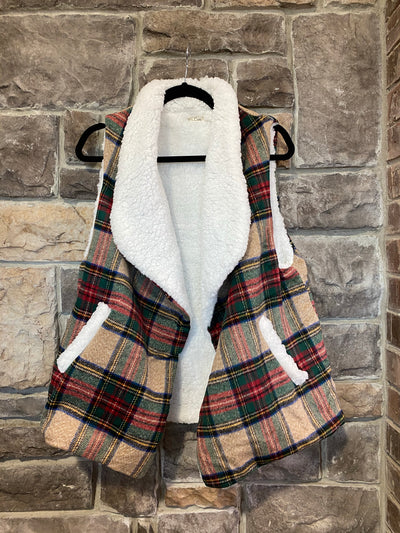 10-13 OT-C {Worth My Wild} Brown Red Plaid With Fur Vest