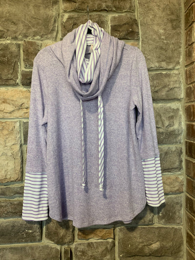10-02 HD-C {Best Intentions} Lilac With White Stripes Hoodie SIZE S M L