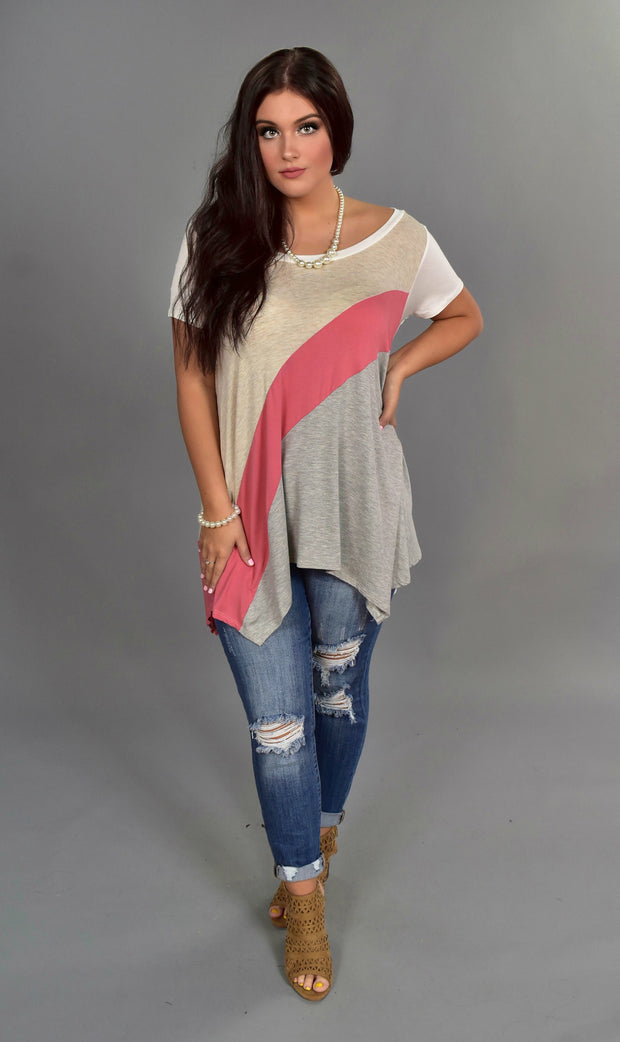 CP-M {Flow My Way} Oatmeal Top with Pink & Gray Contrast