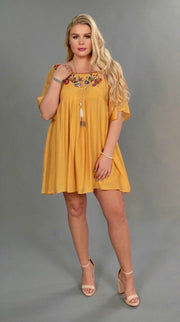 "SD-Q {Good As Gold} ""UMGEE"" Dress with Floral Embroidery"